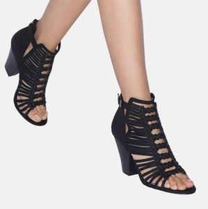 New in Box Black Cage Style Sandals.